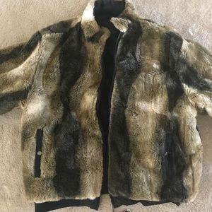 Ecko unlimited faux fur jacket parka reversible 2x